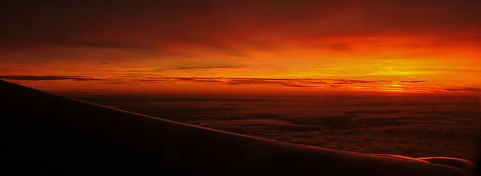 Sunrise over Bolivia from the plane